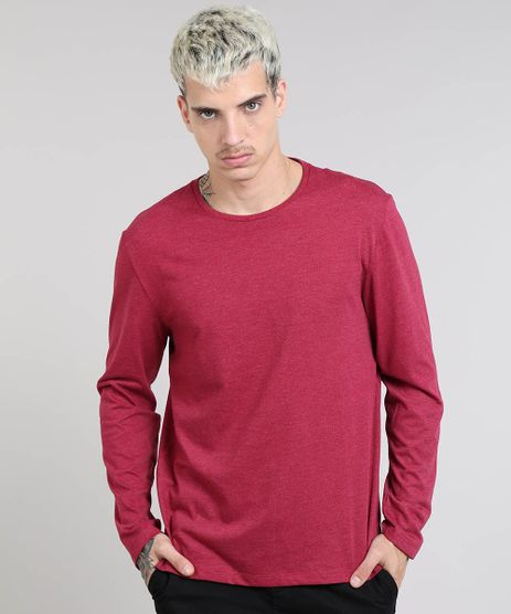 Camiseta-Masculina-Basica-Gola-Careca-Manga-Longa-Vinho-9482634-Vinho_1