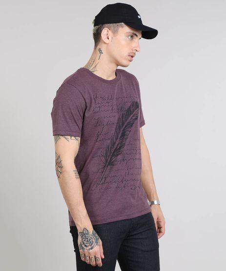 Camiseta-Masculina-com-Estampa-de-Pena-Manga-Curta-Gola-Careca-Roxa-9531801-Roxo_1