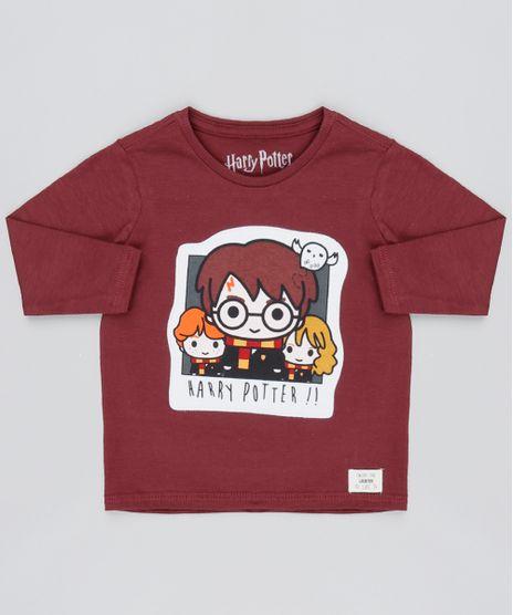 Camiseta-Infantil-Harry-Potter-Manga-Longa-Vinho-9530780-Vinho_1