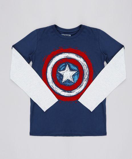 Camiseta-Infantil-Capitao-America-Flocada-Manga-Longa-Azul-Marinho-9553946-Azul_Marinho_1