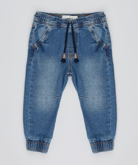 Calca-Jeans-Infantil-em-Moletom-com-Bolsos-Azul-Escuro-9525468-Azul_Escuro_1