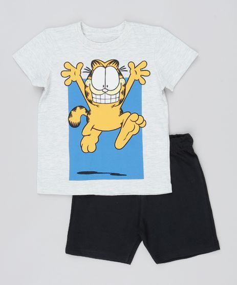 Conjunto-Infantil-Garfield-de-Camiseta-Manga-Curta-Cinza-Mescla-Claro---Bermuda-Preta-9529940-Preto_1