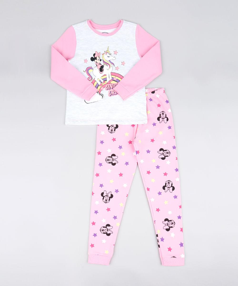 e9db546e7 Pijama Infantil em Moletom Minnie Manga Longa Rosa Claro - cea