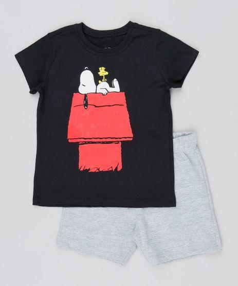 Conjunto-Infantil-Snoopy-de-Camiseta-Manga-Curta-Preta---Bermuda-Cinza-Mescla-9529938-Cinza_Mescla_1