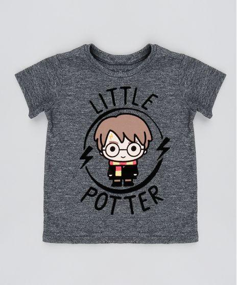 Camiseta-Infantil-Harry-Potter-Flocada-Manga-Curta-Cinza-Mescla-Escuro-9531223-Cinza_Mescla_Escuro_1