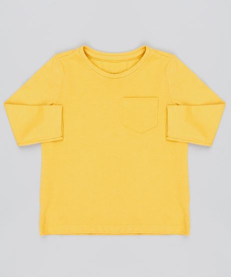 719d4a10f3 Camiseta-Infantil-com-Bolso-Manga-Longa-Mostarda-9429787-