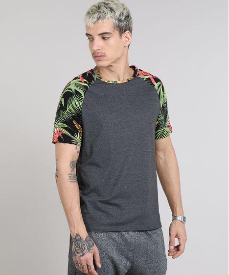 867b1d3a54 Camiseta Masculina Raglan com Estampa Tropical Manga Curta Gola ...