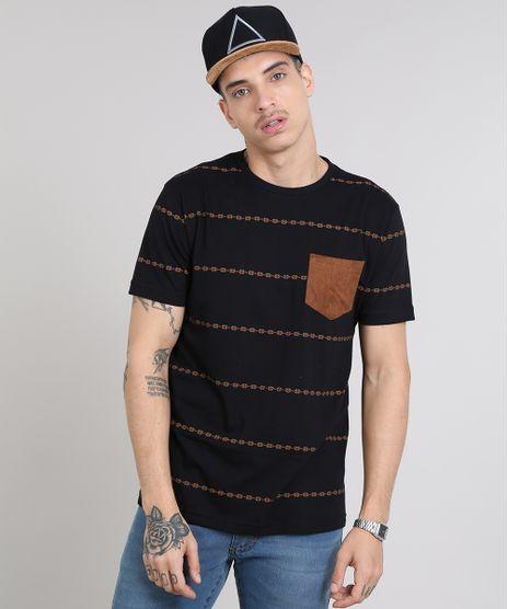 Camiseta-Masculina-Estampada-Etnica-com-Bolso-Gola-Careca-Manga-Curta-Preta-9460148-Preto_1