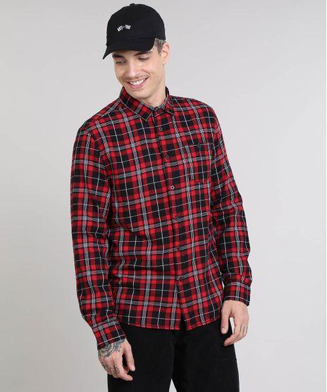 Camisa-Masculina-Estampada-Xadrez-com-Bolso-Manga-Longa-Vermelha-9367625-Vermelho_1