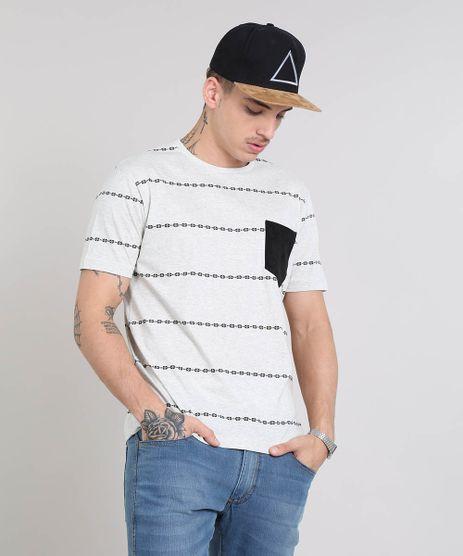 Camiseta-Masculina-Estampada-Etnica-com-Bolso-Gola-Careca-Manga-Curta-Cinza-Mescla-Claro-9460148-Cinza_Mescla_Claro_1
