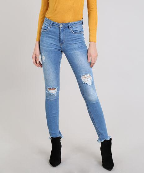 Calca-Jeans-Feminina-Skinny-Destroyed-Barra-Desfiada-Azul-Medio-9570312-Azul_Medio_1