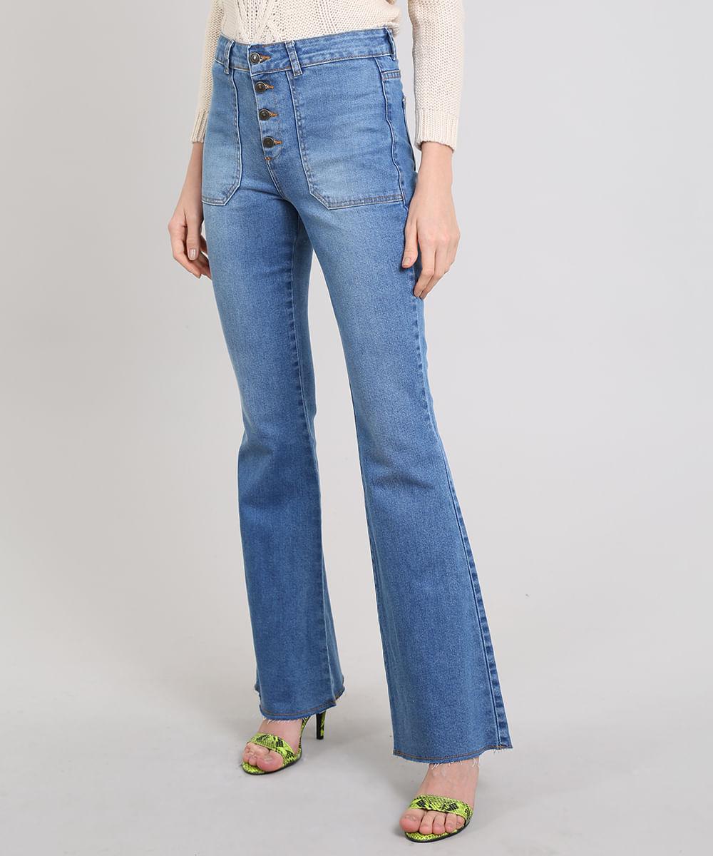 48fcc101b Calça Jeans Feminina Flare Barra Desfeita Azul Médio - cea