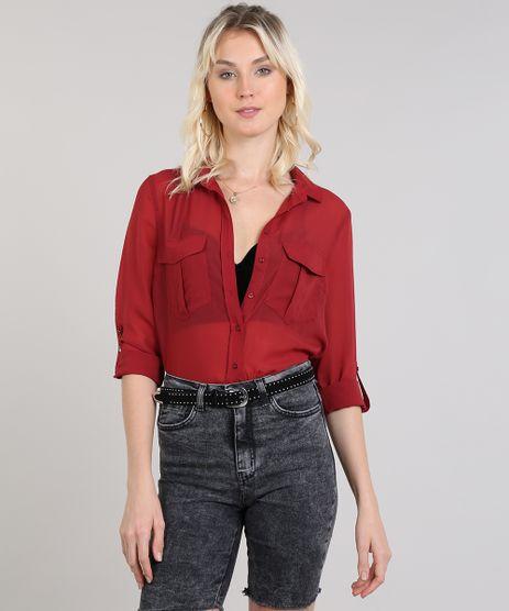 Camisa-Feminina-Com-Transparencia-Com-Bolsos-Vinho-9440550-Vinho_1