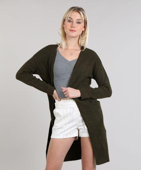 Capa-Feminina-Longa-em-Trico-com-Bolsos-Verde-Militar-9349825-Verde_Militar_1