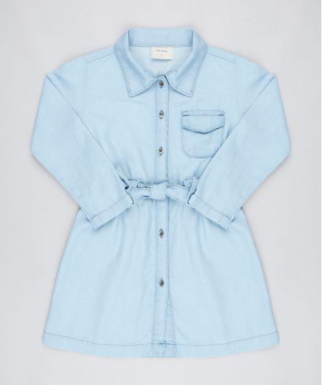 6bc0d4c94 Vestido Jeans Infantil com Laço Manga Longa Azul Claro - cea