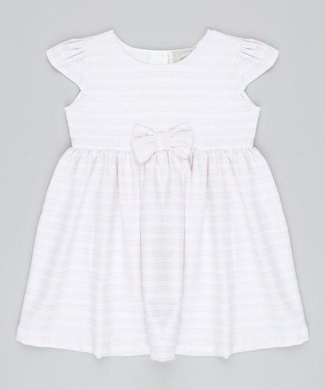 Vestido-Infantil-Listrado-com-Brilho-e-Laco-Manga-Curta-Rosa-Claro-9550584-Rosa_Claro_1