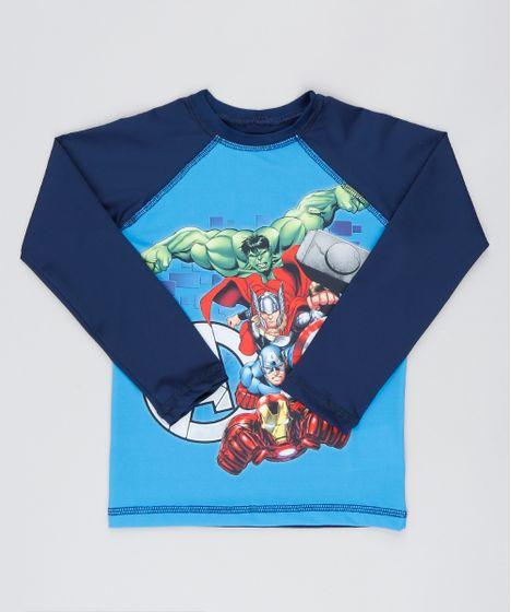 362fa131c Camiseta de Praia Infantil os Vingadores Raglan Manga Longa Azul - cea