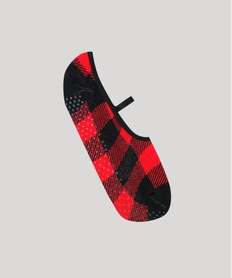Meia-Feminina-Sapatilha-Estampada-Quadriculado-Vermelha-9542705-Vermelho_1