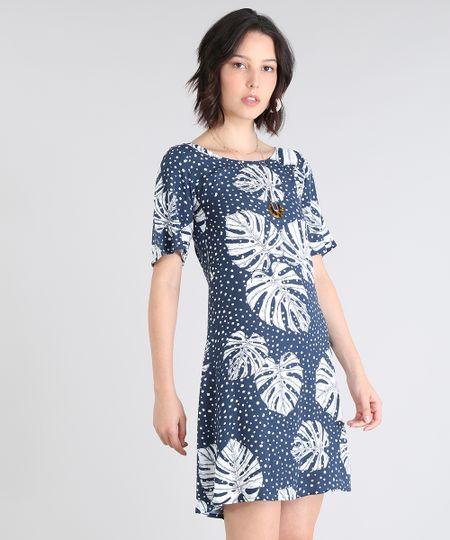 bfa79a07e Menor preço em Vestido Feminino Estampado Poá com Folhagens Vazado Manga  Curta Azul Marinho