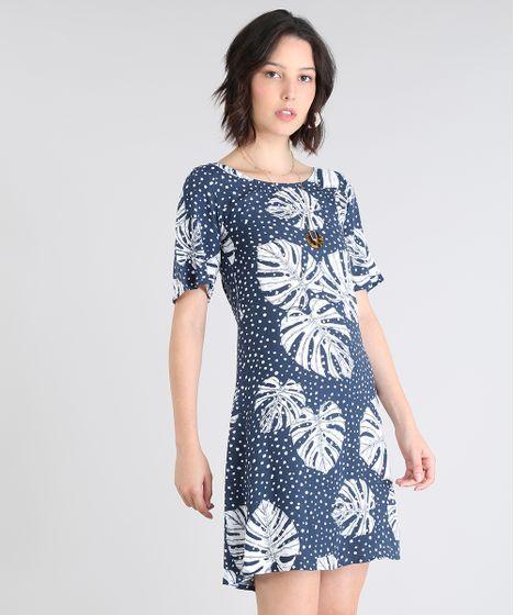 d11dd05811ddbd Vestido Feminino Estampado de Poá com Folhagem Manga Curta Azul Marinho
