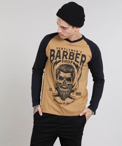 Camiseta-Masculina-Raglan--Barber-Shop--Gola-Careca-Manga-Longa-Caramelo-9549099-Caramelo_1