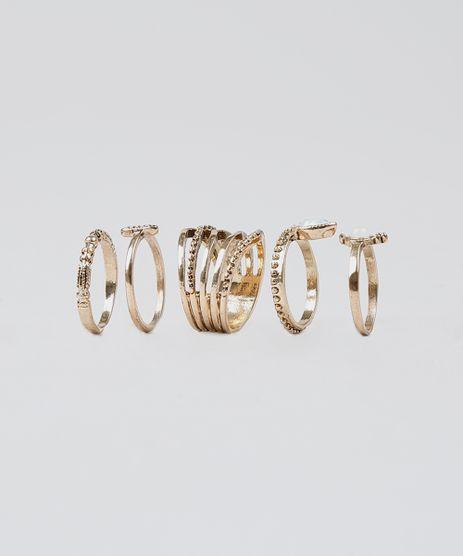 Kit-de-5-Aneis-Feminino-Texturizados-Dourado-9428299-Dourado_1