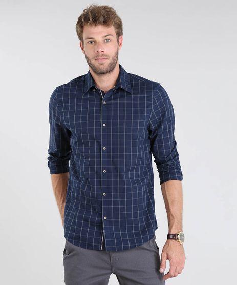 Camisa-Masculina-Comfort-Xadrez-Manga-Longa-Azul-Marinho-9440159-Azul_Marinho_1