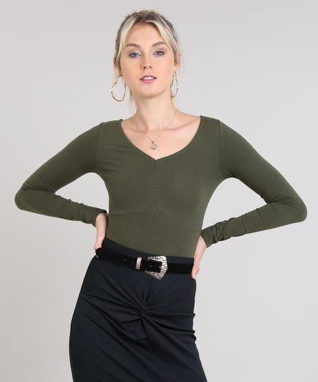 Blusa-Feminina-Basica-Decote-V-Com-Franzido-Verde-Escuro-9528788-Verde_Escuro_1