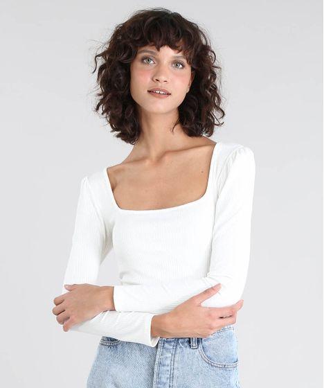 0714ef56ac Blusa Feminina Mindset Decote Princesa Canelada Off White - cea