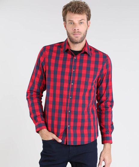 Camisa-Masculina-Comfort-Xadrez-Manga-Longa-Vermelha-9436437-Vermelho_1