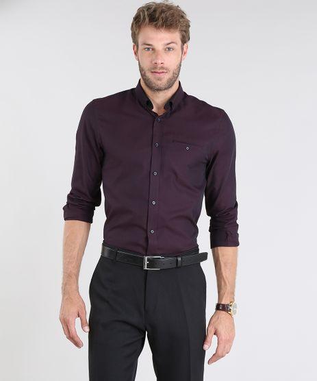 Camisa-Masculina-Comfort-Maquinetada-Manga-Longa-Vinho-9430711-Vinho_1