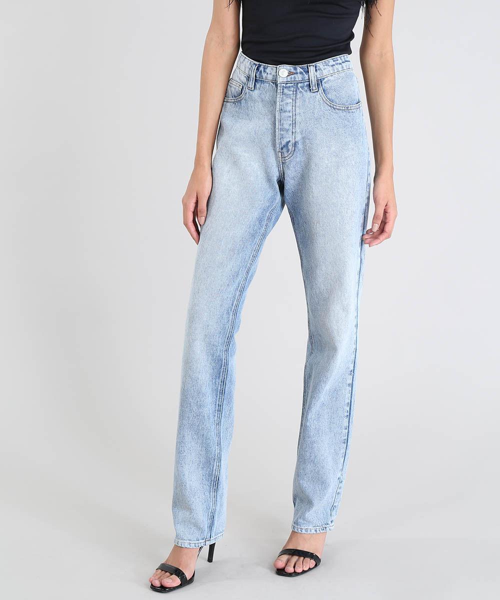 0a51bcfc4 Calça Jeans Feminina Mindset Reta Cintura Alta Azul Claro - cea