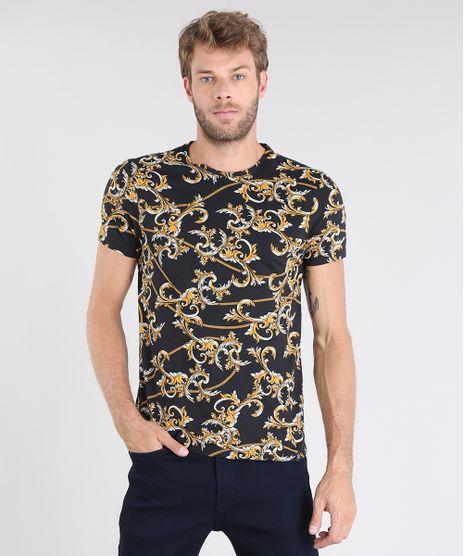 Camiseta-Masculina-Estampada-de-Arabescos-Manga-Curta-Gola-Careca-Preta-9528613-Preto_1