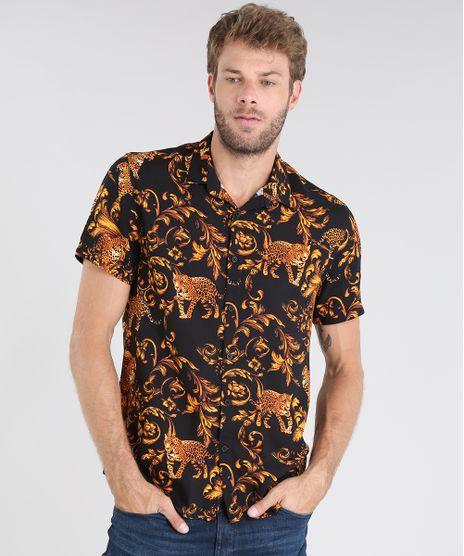 Camisa-Masculina-Relaxed-Estampada-Manga-Curta-Preta-9477775-Preto_1
