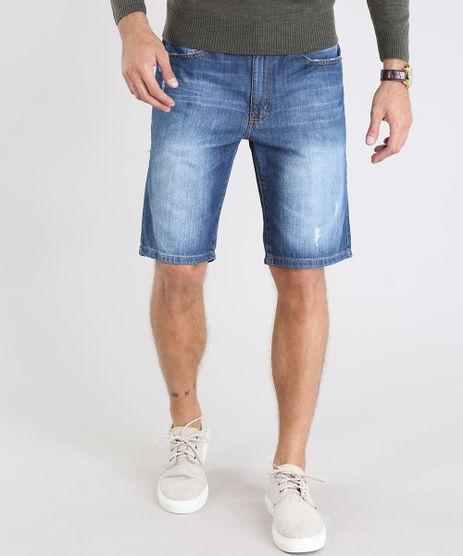 Bermuda-Jeans-Masculina-Slim-com-Puidos-Azul-Medio-9541116-Azul_Medio_1