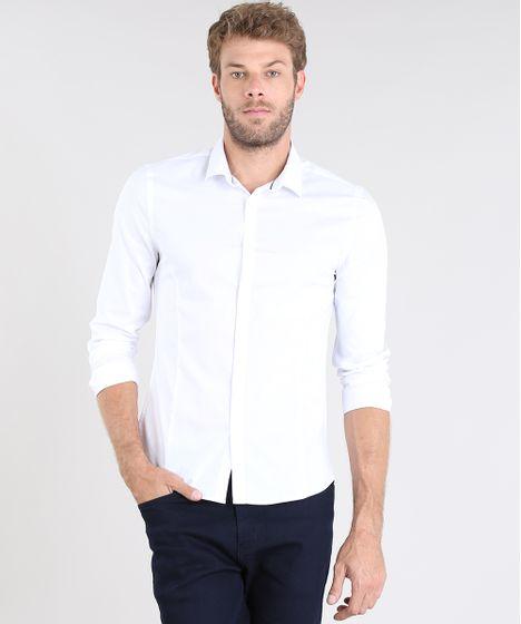 f8504ab243 Camisa-Masculina-Super-Slim-Manga-Longa-Branco-9372459-