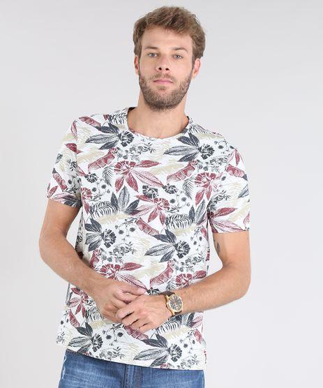 Camiseta-Masculina-Estampada-Floral-Manga-Curta-Gola-Careca-Cinza-Mescla-Claro-9529676-Cinza_Mescla_Claro_1