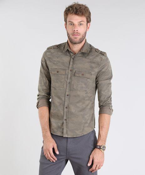 Camisa-Masculina-Comfort-Estampada-Camuflagem-com-Bolsos-e-Martingale-Manga-Longa-Verde-Militar-9519701-Verde_Militar_1