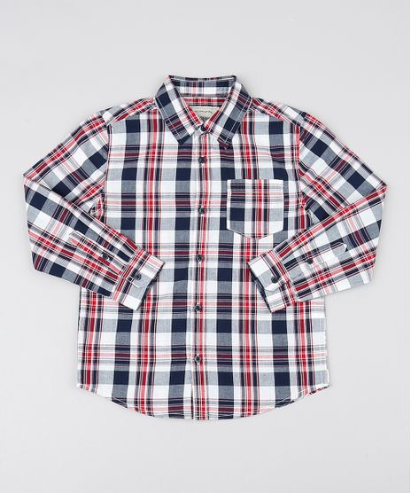 Camisa-Infantil-Estampada-Xadrez-com-Bolso-Manga-Longa-Branca-9384165-Branco_1
