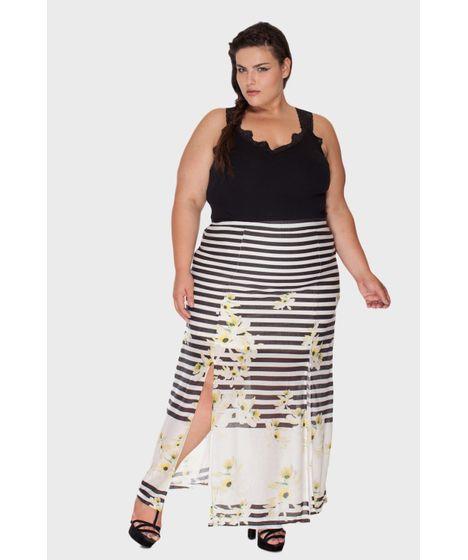 e5075e32dc Saia Longa Fendas Plus Size - cea
