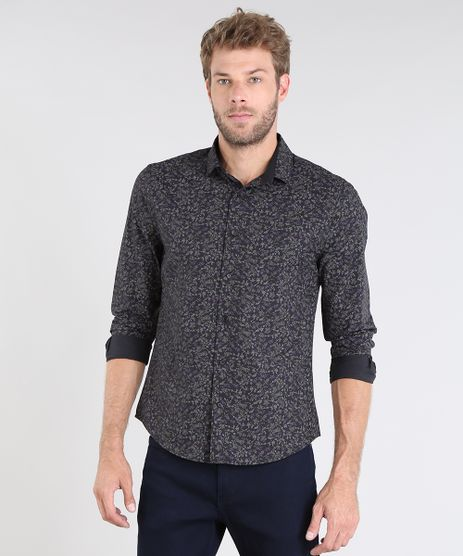 Camisa-Masculina-Slim-Estampada-Floral-Manga-Curta-Preta-9429414-Preto_1