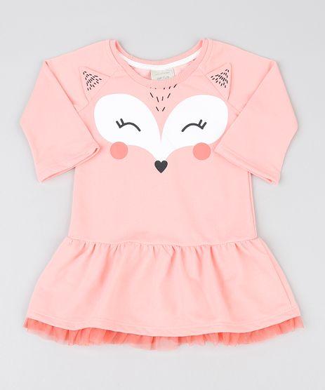 Vestido-Infantil-Raposinha-em-Moletom-com-Tule-Manga-Longa-Coral-9482708-Coral_1