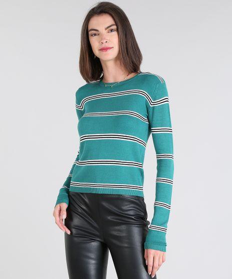 Sueter-Feminino-Basico-em-Trico-Listrado-Decote-Redondo-Verde-Agua-9325938-Verde_Agua_1
