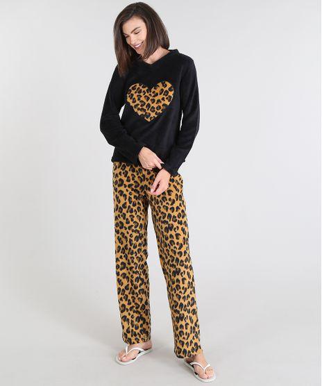 Pijama-Feminino-em-Plush-Estampado-Animal-Print-Preto-9371922-Preto_1