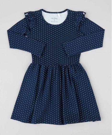 ac0e29521 Vestido Infantil Estampado Poá com Babado Manga Longa Azul Marinho - cea