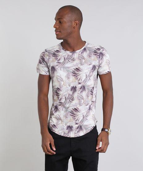 Camiseta-Masculina-Estampada-Folhagem-Manga-Curta-Gola-Careca-Bege-9514816-Bege_1