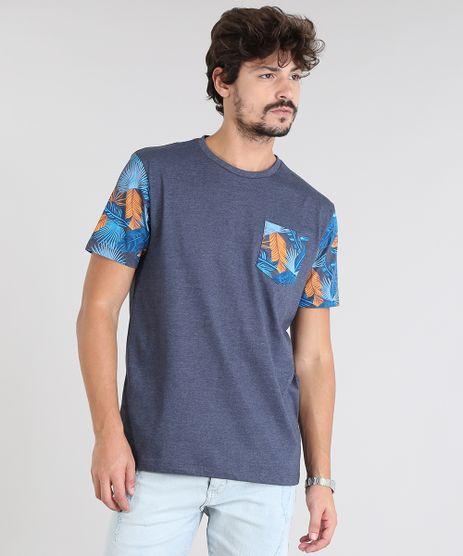 Camiseta-Masculina-com-Bolsos-Estampado-Tropical-Manga-Curta-Gola-Careca-Azul-Marinho-9525223-Azul_Marinho_1