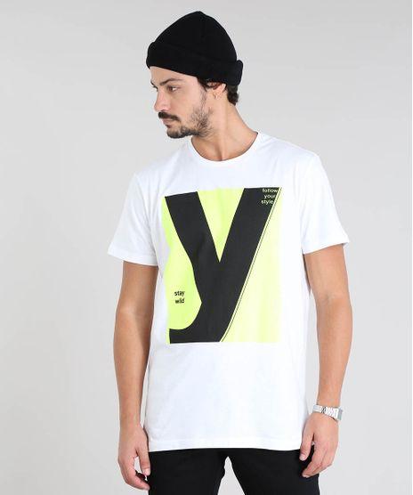 Camiseta-Masculina-com-Estampa-Neon--Stay-wild--Manga-Curta-Gola-Careca-Branca-9601071-Branco_1