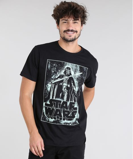 4bf4bf9035 Camiseta Masculina Darth Vader Star Wars Manga Curta Gola Careca ...