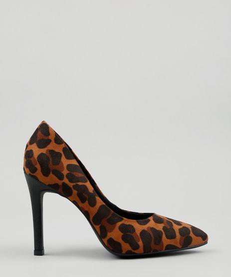 19b10b5268 Scarpin-Feminino-Estampado-Animal-Print-em-Suede-Bico-
